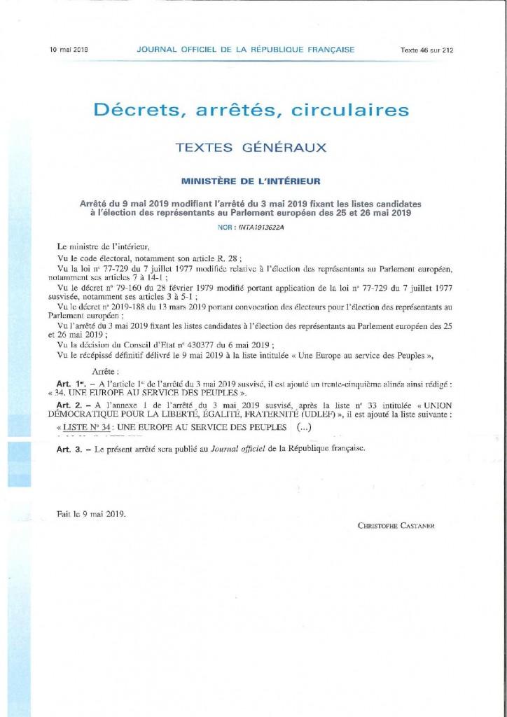 Arrêté listes candidatures élections européennes 34è liste 2 (1)-page-001