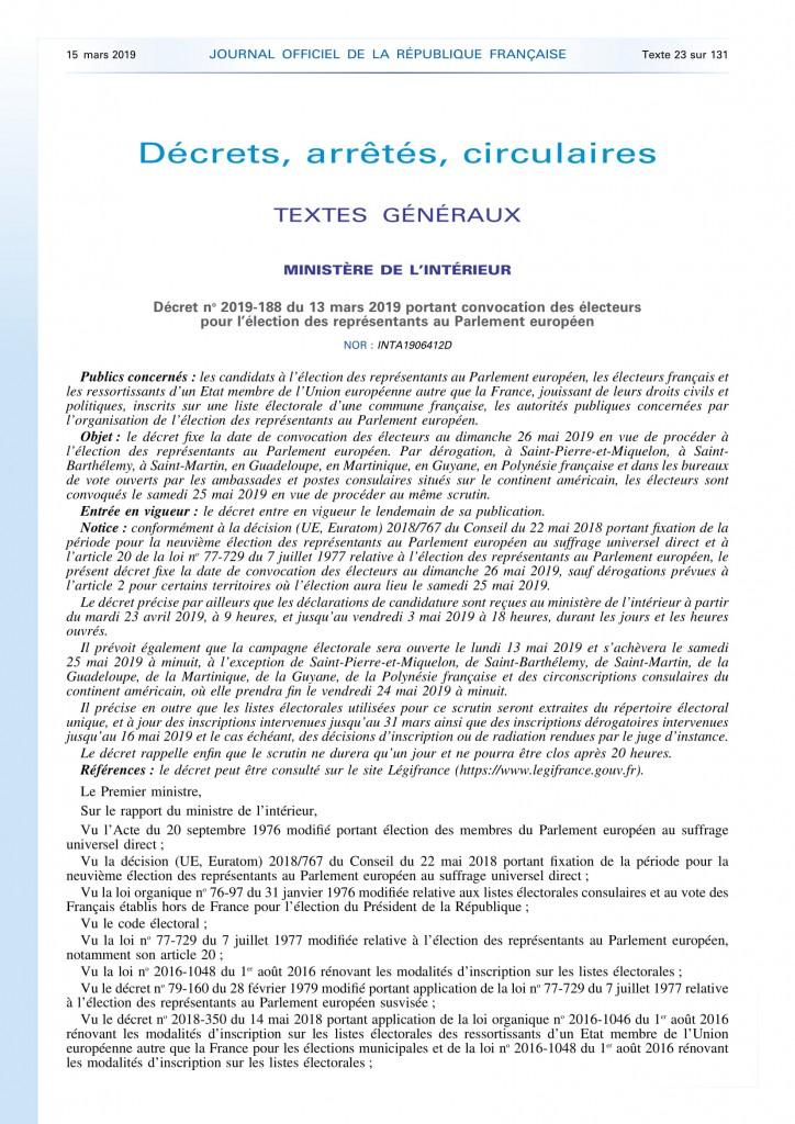 Décret portant convocation des électeurs représentants Parlement Européen (1)-1