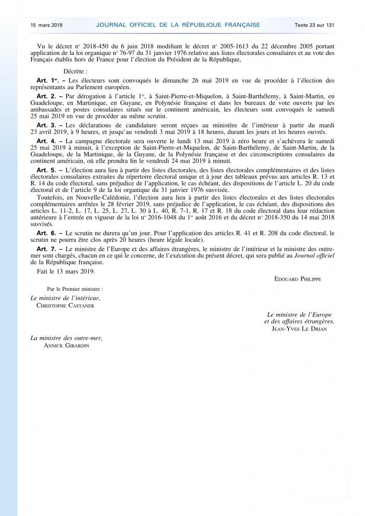 Décret portant convocation des électeurs représentants Parlement Européen (1)-2