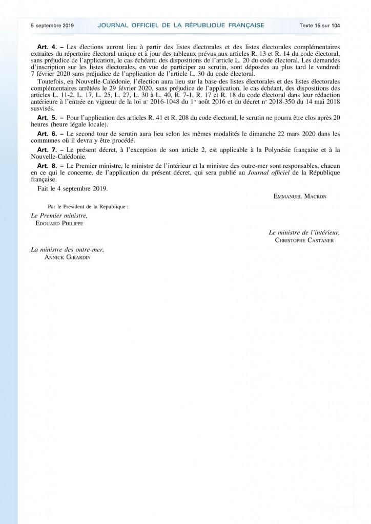 Décret 2019-928 fixant la date du renouvellement des conseillers municipaux et communautaires et portant convocation des électeurs (1)_0002