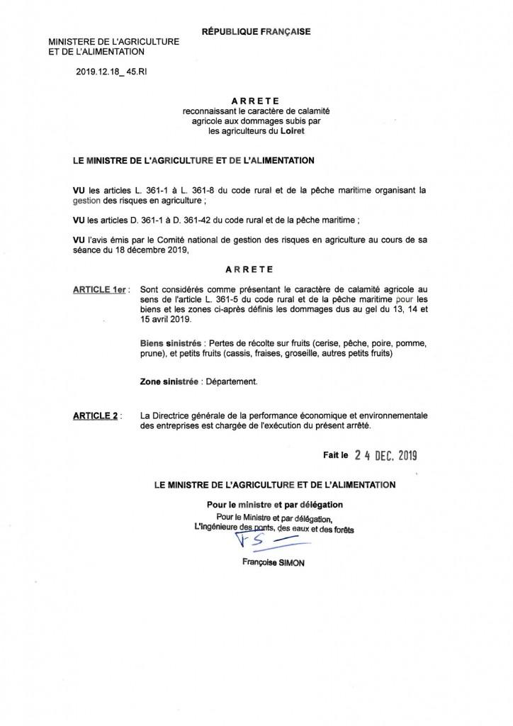 Calamité agricole Arrete ministeriel