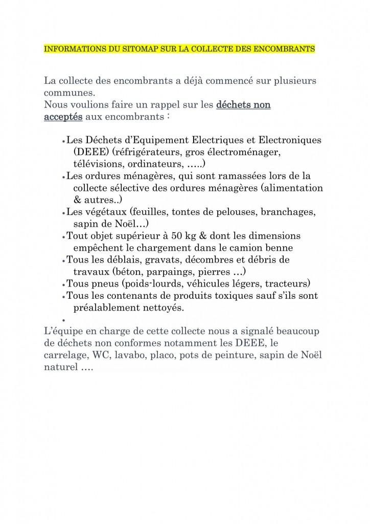 INFORMATIONS DU SITOMAP SUR LA COLLECTE DES ENCOMBRANTS