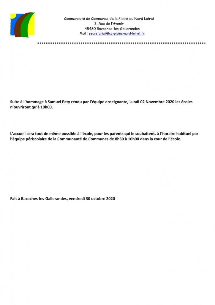 lettre mairie accueil scolaire 02-11-2020