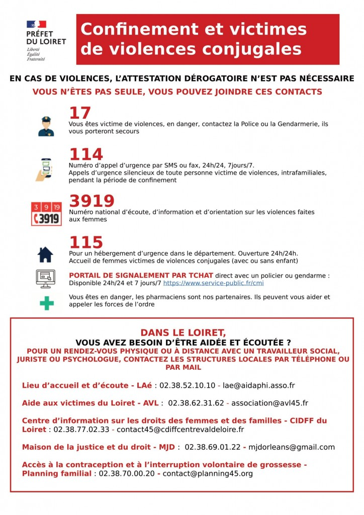 Affiche confinement et victimes de violences_ LOIRET (1)