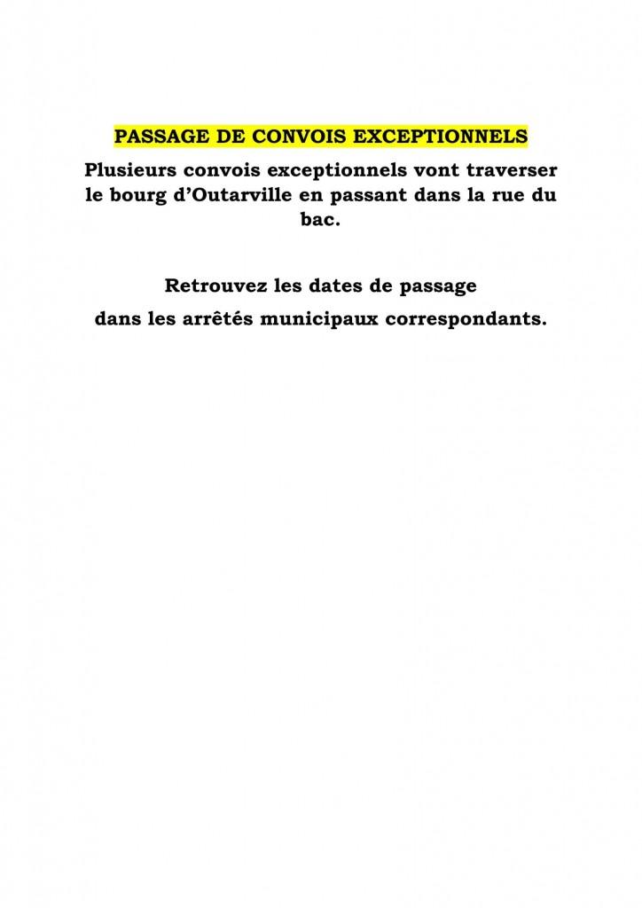 PASSAGE DE CONVOIS EXCEPTIONNELS