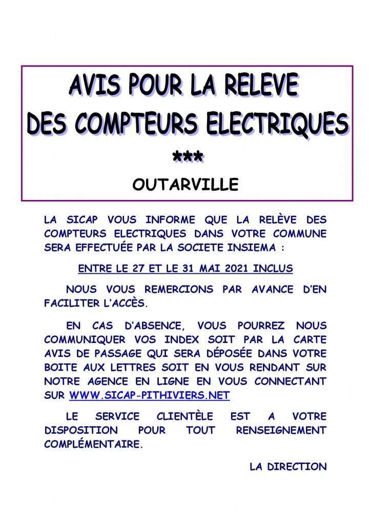 Affiche info relève OUTARVILLE